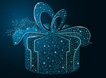 Box with a gift on a dark background, vector gift, box with bow, eps 10 royalty free stock images
