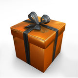 Box gift gold Stock Photo