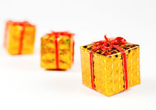 Box gift golden Royalty Free Stock Photography