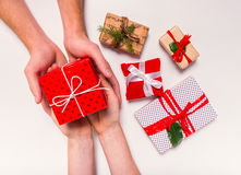 Box with a gift Stock Photos