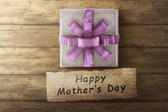 Box gift and Happy Mother`s Day message for Mother`s day Stock Photos