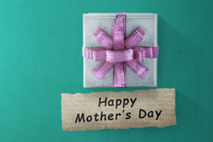 Box gift and Happy Mother`s Day message for Mother`s day Stock Photo