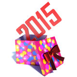 Box with gift new year 2015. 3d illustration.  Stock Photo
