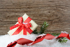 Box with a gift and New Year decorations Stock Photography