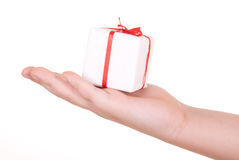 Box with  gift in  palm. On  white background Royalty Free Stock Image