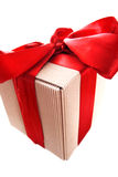 Box gift with red ribbon. Isolated on white Royalty Free Stock Images