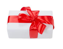Box with a gift with a red tape Stock Photos