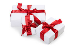 Box with a gift with a red tape Stock Photo