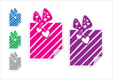 Box with gift sticker Stock Images