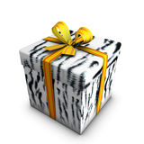 Box gift of  tiger white and tipe yellow. 3d render of box gift of white tiger and tipe on white background Royalty Free Stock Image