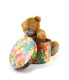 Box of gifts. Old toy a bear with a box of gifts Royalty Free Stock Image