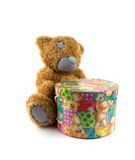 Box of gifts. Old toy a bear with a box of gifts Royalty Free Stock Photo