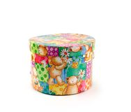 Box of gifts. Bright gift box with cheerful bears Royalty Free Stock Photography
