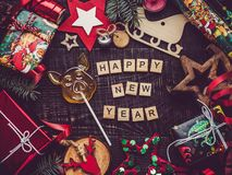 Greeting card. Merry Christmas and Happy New Year stock photo
