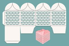 Box for gifts and greetings. Cutout pattern and view of the assembled box. Vector illustration stock illustration