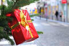 Box for gifts on New Year tree Royalty Free Stock Photo