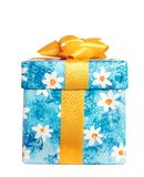 Box for gifts. Profile. Blue box for gifts with yellow strip. Isolated white. Profile Stock Images