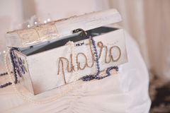Box for gifts on a wedding day Royalty Free Stock Photography