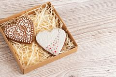 Box with ginger biscuits Royalty Free Stock Images