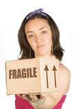 Box and girl - moving Stock Photo