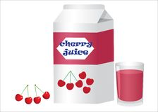 Box and glass with cherry juice Stock Photos