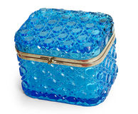 Box. Glass box made of blue glass with metal lock isolated background Royalty Free Stock Image