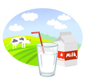 Box and glass with milk and rural landscape Stock Image