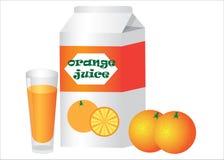 Box and glass with orange juice Stock Photos