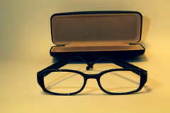 Box glasses spectacle-case. Box glasses in spectacle-case Stock Photos