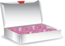 Box of glazed donuts. Illustration of a bakery box of warm glazed donuts with sprinkles Stock Photos