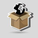 Box global globe Stock Photo