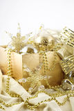 Box of Gold Christmas Decorations Royalty Free Stock Photos