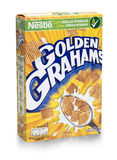 Box of Golden Grahams wheat cereal on white Royalty Free Stock Image