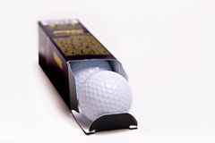 Box of Golf Balls. Box of new premium golf balls.  On white with space for text Royalty Free Stock Images