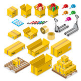 Box goods crate storage delivery warehouse concept. Icon set. Flat 3d isometry isometric style web site app vector illustration. Package packaging pack packing Stock Image