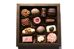 Box with gorgeous chocolates Stock Photos