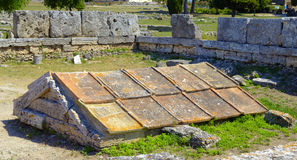 Box grave consisting of five calcareous plates in Paestum Stock Photo