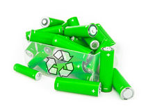Box of green batteries. With recycling symbol on white Royalty Free Stock Images