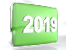 Box green 2019 icon - 3D rendering. A rounded green box with chromed border and the write of the year 2019 on its front side - 3D rendering illustration Royalty Free Stock Photo