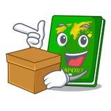 With box green passport in the cartoon shape. Vector illustration royalty free illustration