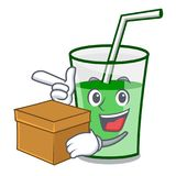 With box green smoothie character cartoon. Vector illustration royalty free illustration