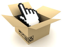Box and hand Royalty Free Stock Photos
