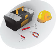 Box of hand tools and set to work. Hammer, pliers, screwdriver and a helmet. Royalty Free Stock Images