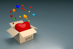 Box of heart Stock Photography