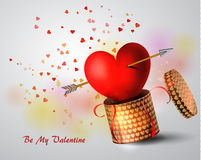 Box With Heart. And Amour arrow on white Background, Vector Illustration Stock Photo