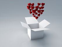 Box of heart, 3d Illustration Stock Images