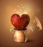 Box With Heart in retro style Royalty Free Stock Image