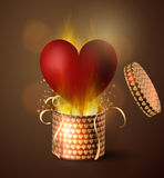 Box With Heart in retro style. Box With Heart with flame burning inside in retro style Background, Vector Illustration Royalty Free Stock Photos