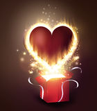Box With Heart in retro style. Box With Heart with flame burning inside in retro style Background, Vector Illustration Royalty Free Stock Photography