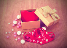 Box with heart, valentine`s day. Present Royalty Free Stock Image